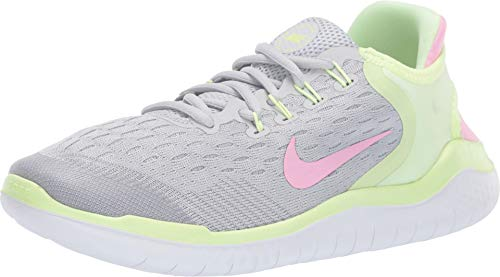 Nike Girl's Free RN 2018 Running Shoe Pure Platinum/Pink Rise/Barely Volt Size 7 M US (Free Kids Shoes Nike)