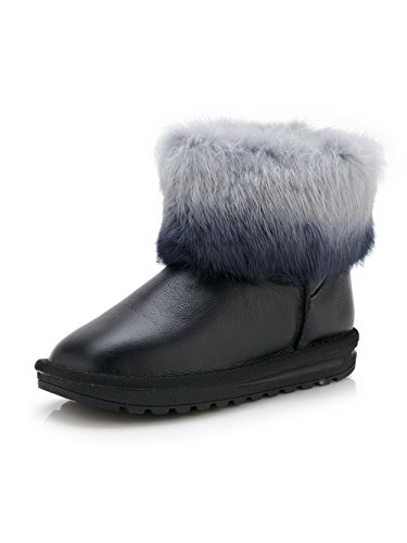 AllhqFashion Womens Cow Leather Soft Material Low-Heels Boots with Fur Ornament Black pszYRGn