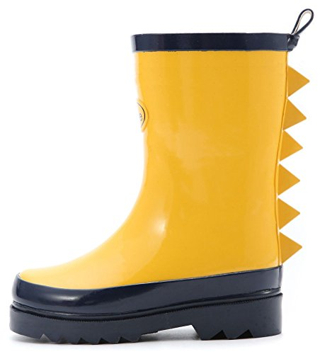 Outee Toddler Kids Boys Rain Boots Rubber Waterproof Shoes Yellow Shark Fin Dinosaur (11 M US Little Kid, Yellow 11) (Yellow Shark)