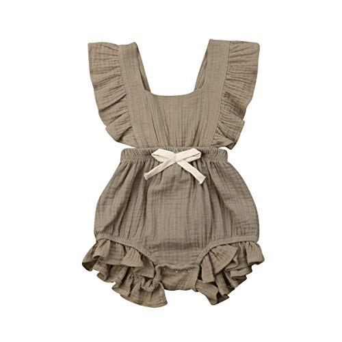 C&M Wodro Infant Baby Girl Bodysuit Sleeveless Ruffles Romper Sunsuit Outfit Princess Clothes (Khaki Green, 18-24 Months) ()