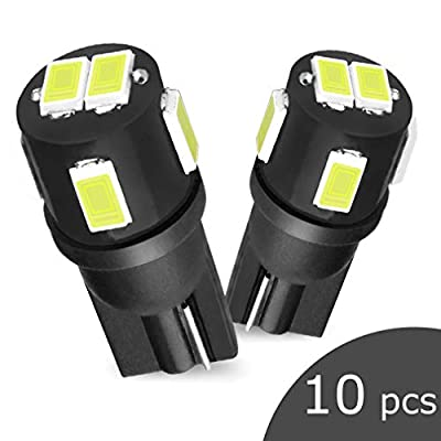 194 LED Bulb White,Super Bright 6000K 168 T10 2825 W5W Car Trunk Lamp Interior Dome Map Door Courtesy Lights, License Plate Marker Light Bulbs (Pack of 10): Automotive