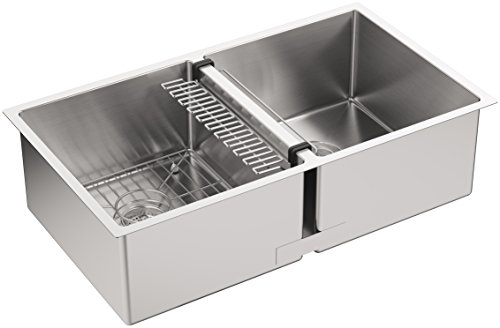 KOHLER K-5281-NA Strive 32 X 18-1/4 X 9-5/16-Inch Under-Mount Double-Equal Kitchen Sink with Basin Rack, Stainless Steel, - Under Mount Sink Double Kitchen