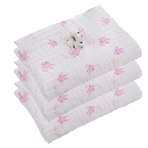 Muslin Baby Bath Towel and Stroller Blanket, Cotton Gauze Warm Baby Swaddle Blanket 41x41 Inches Pink Rabbits