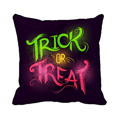 Batmerry Halloween/Thanksgiving Theme Decorative Pillow Covers 18 x 18 inch,Trick Treat Halloween Hand Party Invitation Black Autumn Celebration Throw Pillows Covers Sofa Cushion Cover Pillowcase