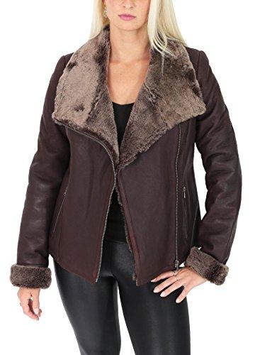 House of Leather Ladies Real Sheepskin Merino Shearling Jacket Aviator Biker Style Jodie Brown (Small)