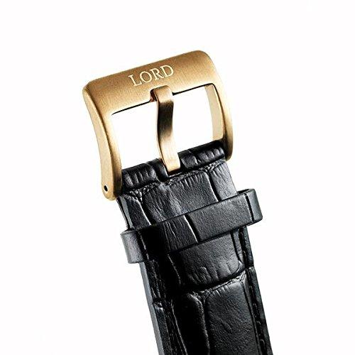 Lord Timepieces lyx herr bolt Black Rose klocka - italienskt läderband - 42 mm schweizisk kvartsur