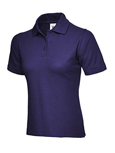 Ladies Polo de manga corta ocio Casual camiseta Top deportes trabajo Workwear Púrpura