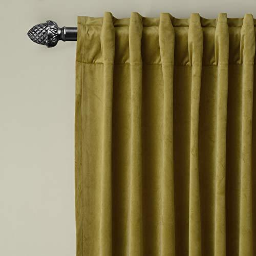 lid Matt Velvet Curtain Panel Drapes Back Tab/Rod Pocket Fawn 50W x 84L Inch Each, Birkin Collection ()
