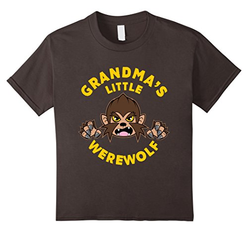 Grandma Wolf Costume (Kids Grandma's Little Werewolf Halloween Costume T-shirt 10 Asphalt)