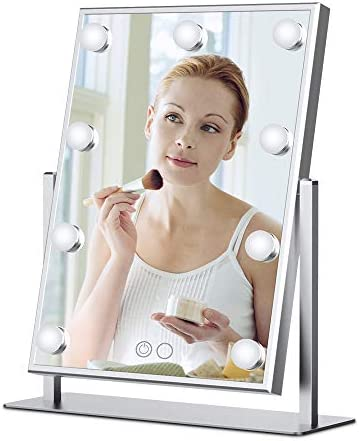 Nitin Lighted Vanity Mirror with Dimmable Touch Control, Hollywood Style Makeup Cosmetic Mirrors with Lights, Aluminum Frame Jewelry Packaging Material Velvet Back Plate Silver