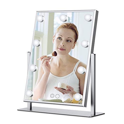 Nitin Lighted Vanity Mirror with Dimmable Touch Control, Hollywood Style Makeup Cosmetic Mirrors with Lights, Aluminum Frame Jewelry Packaging Material Velvet Back Plate (Silver)