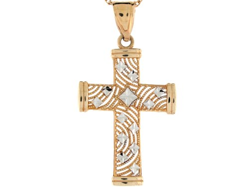 14ct Or Deux Tons Pendentif Croix Religieuse Filigrane Taille Diamant