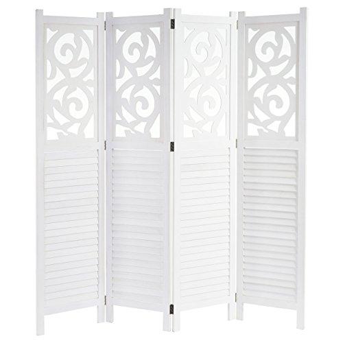 Paravent Istanbul, Raumteiler Trennwand Sichtschutz, Ornamente ~ 170x160cm, weiß