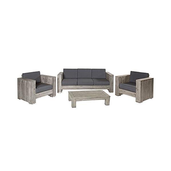 Lounge gruppo Bali in legno di acacia grigio Palette Mobili, gruppo mobili da giardino Outdoor 1 spesavip