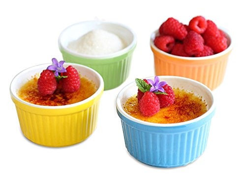 Ramekins 5 oz Dishes Set of 4 Baking Cups - Suitable for Souffle, Creme Brulee, Custard, Pudding, Desserts in Beautiful Bright Ceramic Colors by Uno Casa