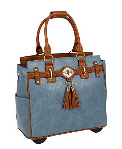 The Rodeo Blue Rolling Compatible with Computer iPad Tablet or Laptop Tote Carryall Bag (Rolling Computer Bag Blue)