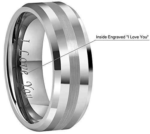 Crownal 6mm 8mm 10mm Tungsten Carbide Wedding Band Ring Engraved ''I Love You'' Men Women Brushed Strip Beveled Edge (8mm,12) by CROWNAL (Image #2)