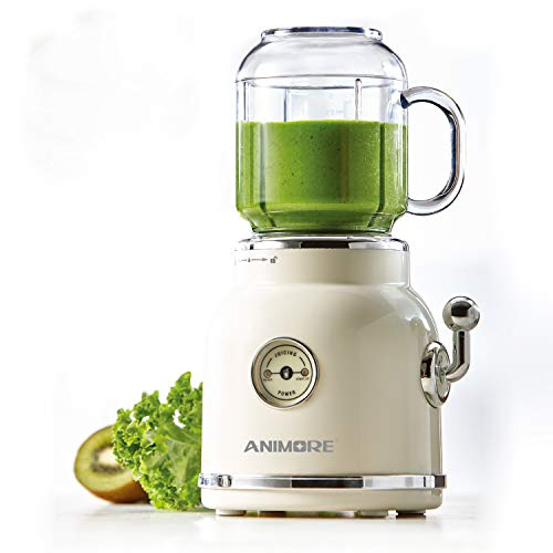 ANIMORE Portable blender for making smoothies and shake, Retro juicer blender with 6 Sharp Blades, Smoothies blender with 2 BPA-Free cups and a smoothie straw