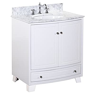 Palazzo 30-inch Bathroom Vanity (Carrara/White): Includes an Italian Carrara Marble Countertop, a White Cabinet, a Soft Close Drawer, Self-Closing Door Hinges, and a Ceramic Sink - High-end furniture-grade construction. Made with 100% solid wood and plywood only! Absolutely no MDF or cheap particle board anywhere in this product. Soft-close mechanism on all doors and drawers; All drawers are dovetailed and made with 100% solid wood. Authentic Carrara marble countertop imported from Italy - bathroom-vanities, bathroom-fixtures-hardware, bathroom - 418RAbi3FaL. SS400  -