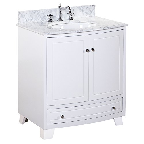 418RAbi3FaL - Palazzo 30-inch Bathroom Vanity (Carrara/White): Includes an Italian Carrara Marble Countertop, a White Cabinet, a Soft Close Drawer, Self-Closing Door Hinges, and a Ceramic Sink