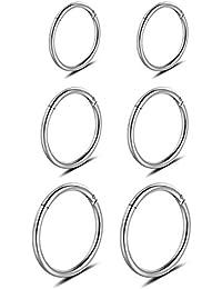 16G 3 Pair Stainless Steel Nose Ring Hoop Earring Rings Body Piercing Jewelry for Mens Womens