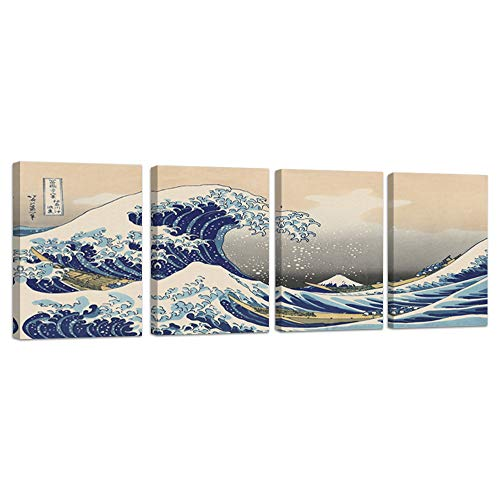 """The Great Wave Of Kanagawa by Hokusai Canvas Wall Art Prints Japanese Wall Art Home Decor Pictures 4 Panels Poster for Bedroom Living Room Japanese Painting Framed Ready to Hang (12""""x16""""x4Pcs, wave)"""