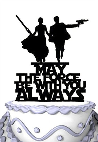 Meijiafei Wedding Cake Topper - Script May the Force with You Always for Anniversary Party Supplies -