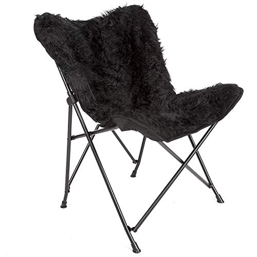 Mac Sports Black Butterfly Papasan Fur Chair, Foldable/Collapsible | Fluffy and Fuzzy Removable Faux Black Fur Cover, Accent Chair for Women Girls Bedroom desks and Home Decor, Decorative Vanity ()