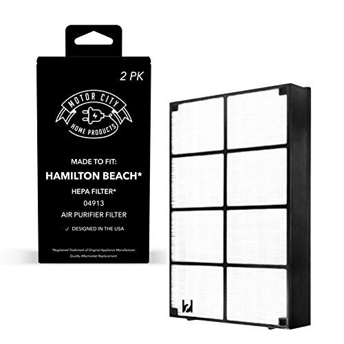 (2 Motor City HEPA Air Purifier Filters Fits Hamilton Beach 04160, 04161, 04150 Models, Compare to Part # 04913, 04162, 04163 & 04152)