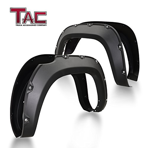 TAC Fender Flares Cover Fit 2016-2019 Toyota Tacoma Truck Off-road 4pcs Matte Black Smooth Front & Rear Pocket Rivet Style Pickup All Beds (Single Rear Wheel only) ()