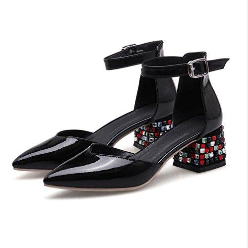 Zapatos negro de de tacón de mujer el de tobillo tacón para charol con vestido Sandalias para boda correa punta de con puntera en Zapatos bombas SvFqwB