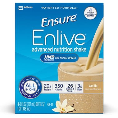 Ensure Enlive Nutrition Shake, Vanilla (8 fl. oz., 16 ct.)-2 PACKS