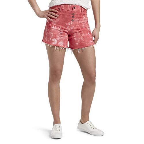 (HUE Women's Ultra Soft Denim High Waist Shorts, Red Hot - Tie Dye, Small)