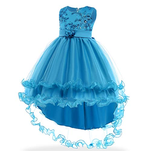 Girls Princess Cinderella Costume Dress Halloween Party Fancy Dress (Blue,110/4T)