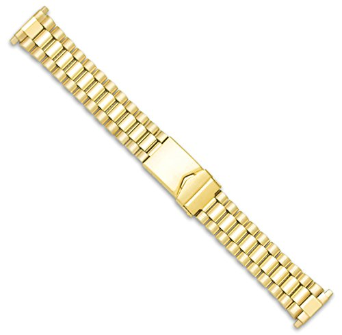 President Link Style Metal Watch Band - Gold - (fits 18mm to 22mm) -
