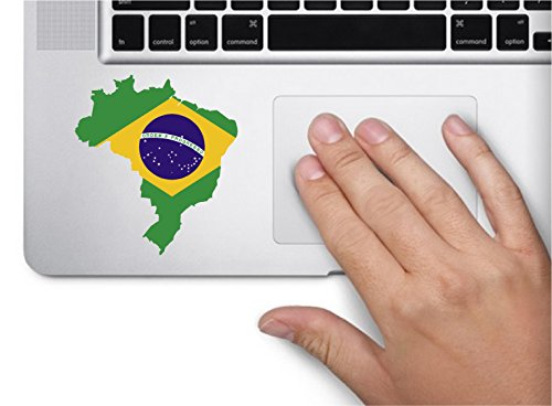 (Map with flag inside Brazil 3.5x3.2 inches sticker decal die cut vinyl - Made and Shipped in USA)