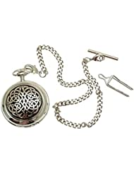 Solid Pewter fronted mechanical skeleton pocket watch - Celtic knot design