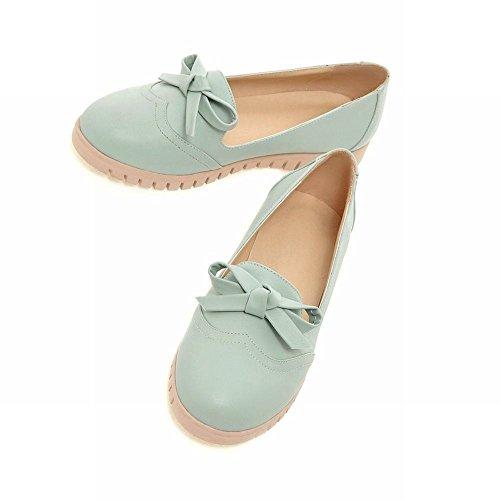 Mee Shoes Damen bequem flach runder toe mit Schleife Loafers Pumps Blau