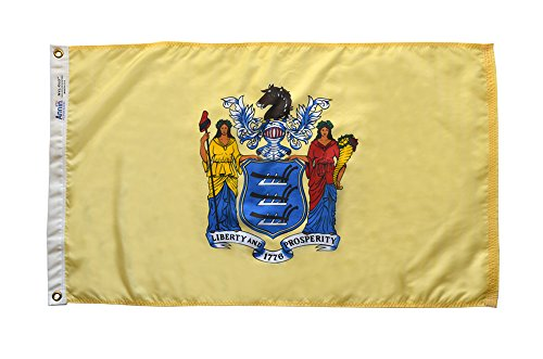 Annin New Jersey State Flag 3x5 ft. Nylon SolarGuard Nyl-Glo 100% Made in USA to Official State Design Specifications by Flagmakers. Model 143660