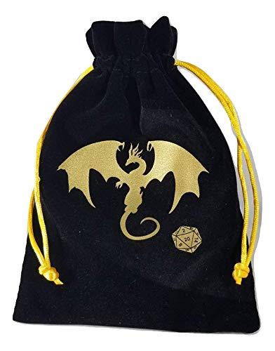 Dungeons & Dragons Black Velvet Drawstring Dice Bag with Gold Satin Interior