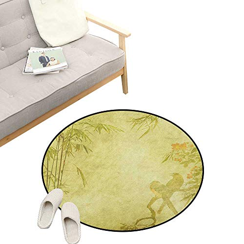 Bamboo Round Rug Living Room ,Silhouettes of Birds on The Branch and Bamboo Stems Twig Retro Inspired Wild Life Theme, Bedrooms Laundry Room Decor 47