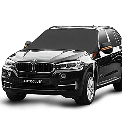"AUTOCLUB Car Windshield Snow Cover,3-Layer Protection&Double Side Design,Snow, Ice, Frost,UV Full Protection,Extra Large & Thick Fit for Most Vehicle(87""x50"")"