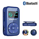 Eleston 1.8 inch Screen MP3 Music Player,8GB Bluetooth 4.0 Clip Digital Music Player Expandable Micro SD Card up to 64GB Support FM Radio/Voice Record/Text Reading Function with HD Earphone(Blue)