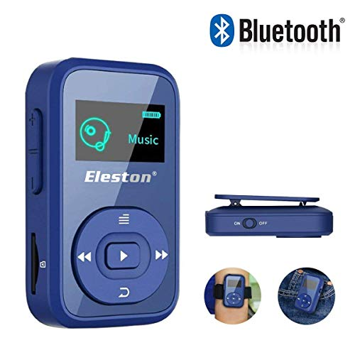 Eleston 1.8 inch Screen MP3 Music Player,8GB Bluetooth Clip Digital Music Player with FM Radio/Voice Record Function Special Design for Sport,Expandable Micro SD Card up to 64GB(Blue)