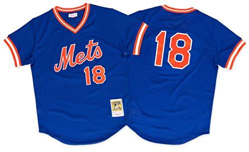 Mitchell & Ness Men's New York Mets Darryl Strawberry #18 Mesh Batting Practice Jersey Small Blue