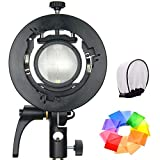 Godox S2 Speedlite S-Type Bracket Bowens Mount Flash Holder for Godox V1 AD200Pro AD400Pro AD200 and other Flashes, Precise Tilt Control, Large Handle, Integrated Umbrella Mount with Pergear Diffusers