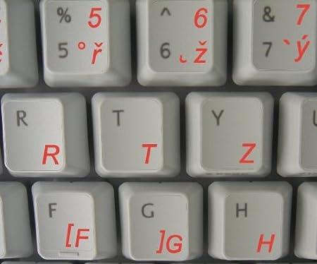 Checa teclado pegatinas con texto, color rojo sobre fondo transparente: Amazon.es: Oficina y papelería