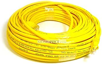 Yellow Monoprice 100FT 350MHz UTP Cat5e RJ45 Network Cable