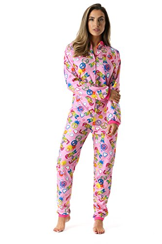 Just Love 95813-40-L Printed Flannel Adult Onesie/Pajamas Peace Love Large -