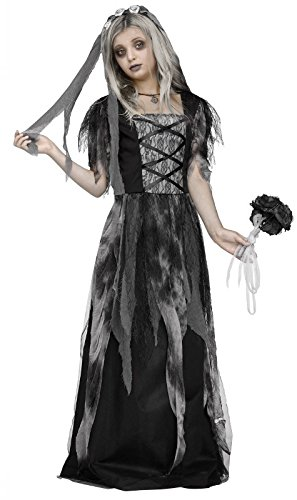 Dead Bride Costumes For Kids (Fun World Big Girl's Med/Cemetery Bride Children's Costume, Multicolor,)